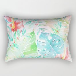Tropical teal pink green watercolor abstract floral Rectangular Pillow