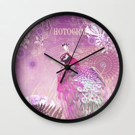 PINK PEACOCK Wall Clock