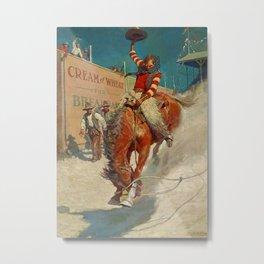 """N C Wyeth Western Painting """"The Rodeo"""" Metal Print"""