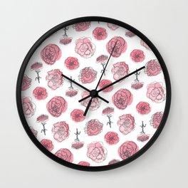 Pink Carnation Pattern Wall Clock