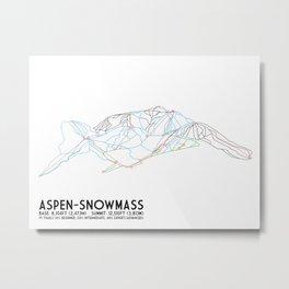 Aspen, CO - Snowmass - Minimalist Trail Map Metal Print