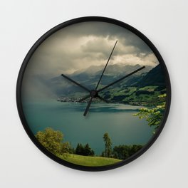 arising storm over lake lucerne Wall Clock