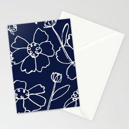 Brushy Floral Celebration in White Ink on Navy Stationery Cards