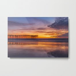 Pacific Beach Pier Sunset (orange, purple) Metal Print
