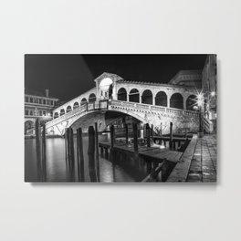 VENICE Rialto Bridge at Night | Monochrome Metal Print
