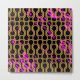 Gold retro octagon geometric pattern Metal Print