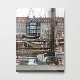 Nyhaven Canal with Ships Metal Print