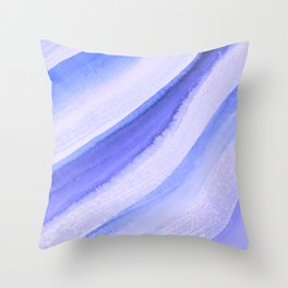 Blue Wave Watercolor Throw Pillow