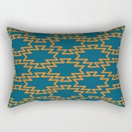 Southwest Azteca - Geometric Pattern in Orange and Moroccan Blue Rectangular Pillow