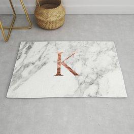 Monogram rose gold marble K Rug