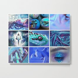 Blue Holographic Mythology Moodboard Metal Print