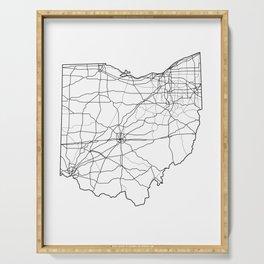Ohio White Map Serving Tray