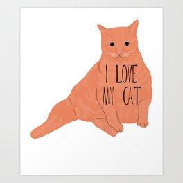 Fat Orange Cat Art Print
