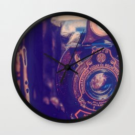 Preserving the Past a digital photograph of a vintage folding camera Wall Clock