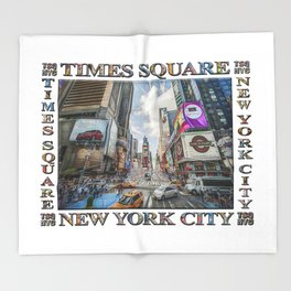 Times Square Traffic (digitally repainted poster) Throw Blanket