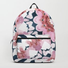 Watercolor navy blue white pink abstract mandala Backpack