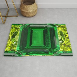 EMERALDS &  LIME GREEN PERIDOT GEMS BIRTHSTONES Rug