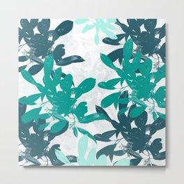 Tropical Turquoise Leaves Metal Print