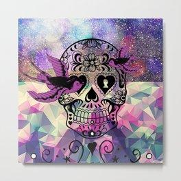 ultra violet space skull Metal Print