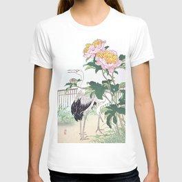 Kono Bairei - Two Cranes And Peony Flowers - Vintage Japanese Woodblock Print Art (1883) T-shirt