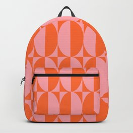 Mid Century Modern Geometric Half Oval Pattern 258 Orange and Pink Backpack