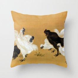 Mori Sosen Silkies Chickens Throw Pillow