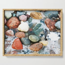 Colorful Stones in frozen Water Serving Tray
