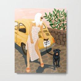 Tour, Pet Dog Walk, Italy Summer Fashion Woman, Animal Illustration, Travel Bohemian Cooper Painting Metal Print