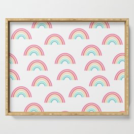 Rainbow pattern cute decor for kids room or nursery Serving Tray
