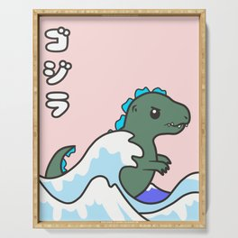 kawaii tiny godzilla kanagawa wave Serving Tray
