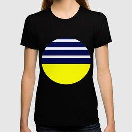 Summer Patio Perfect, Yellow, White & Navy T-shirt