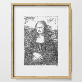 Mona Lisa - Abstract Line Sketch Serving Tray
