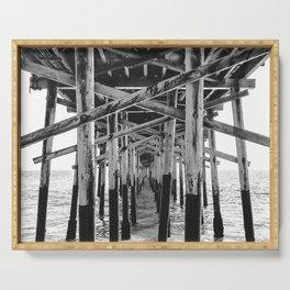 Balboa Pier Print {3 of 3} | Newport Beach Ocean Photography B&W Summer Sun Wave Art Serving Tray