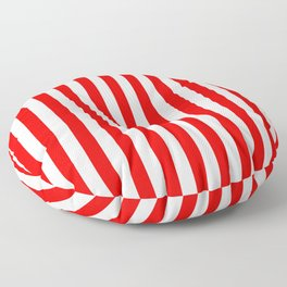 Red and White Candy Cane Vertical - Medium Stripes Floor Pillow