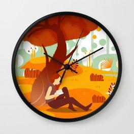 Summer Reading Girl Under Tree Wall Clock