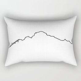 Kanchenjunga Art Print / White Background Black Line Minimalist Mountain Sketch Rectangular Pillow
