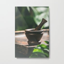 Mortar and pestle on tropical background. Spa or herbal medicine concept Metal Print