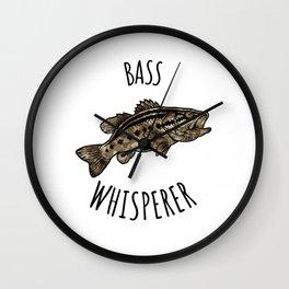 Funny Fishing Bass Whisperer print Wall Clock