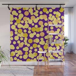 Golden confetti on purple Wall Mural
