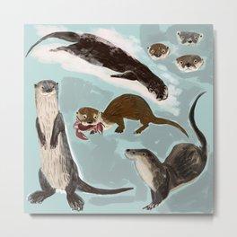 New World otters Metal Print