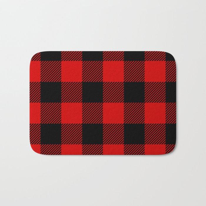 Red Lumberjack Pattern Bath Mat