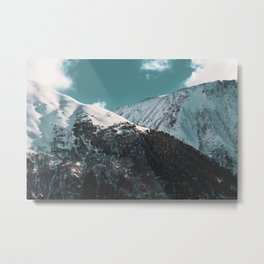 Snowy Mountains Under Teal Sky - Alaska Metal Print