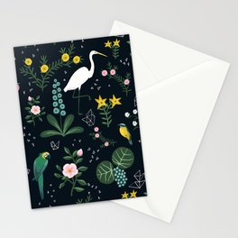 """Tropical Birds and Flowers"" on Midnight Blue by Bex Morley Stationery Cards"
