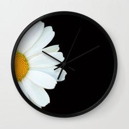 Hello Daisy - White Flower Black Background #decor #society6 #buyart Wall Clock