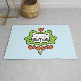 Cute Cartoon Cat With Heart - Orange and Green Rug