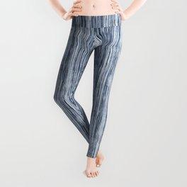 Blue Watercolor Wood Grain Stripe Leggings