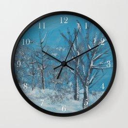 Snowy Trees Wall Clock
