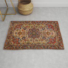 Persia Tabriz 19th Century Authentic Colorful Blue Red Yellow Vintage Patterns Rug