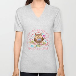 Owl And Love Letters Unisex V-Neck