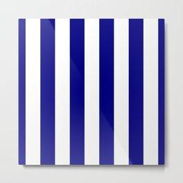 Navy Blue and White Beach Hut Stripe Metal Print